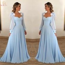 Céu azul vestidos de noite sheer neck chiffon mangas compridas com pena flor a linha vestido de baile formal 2020 caminhada ao seu lado