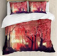 Duvet Cover Set, Enchanted Mist Forest with Shady Autumn Trees at Night Magical Paint Artwork, 4 Piece Bedding Set
