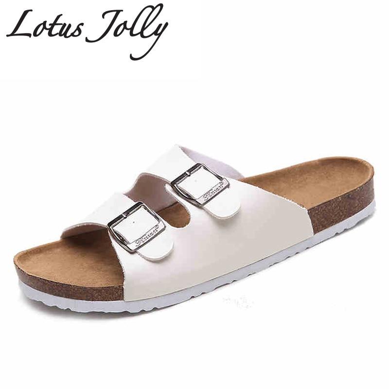 2017 New Summer Cork Slippers Shoes Women Slides Casual Mixed Color Pu Flip Flops Beach Sandals