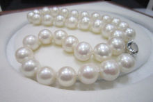 noble women gift Jewelry Silver Clasp 17-17.5inch 10-10.5MM Natural White Akoya Pearls Necklace