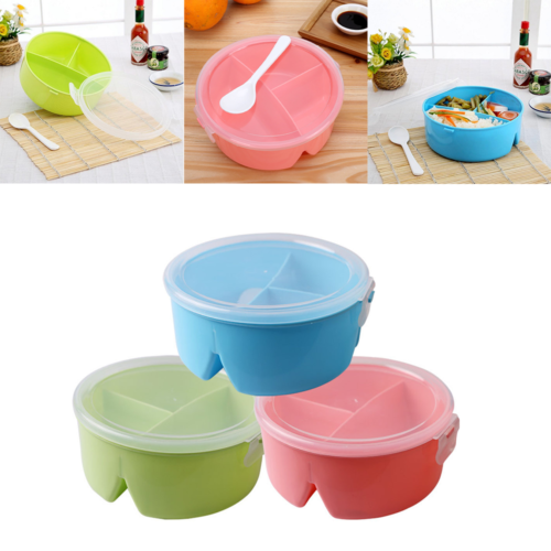 Meal Prep Containers Plastic Food Storage Work Office Lunch Dinner Box  Reusable Microwavable 3 Grid Lunch Box