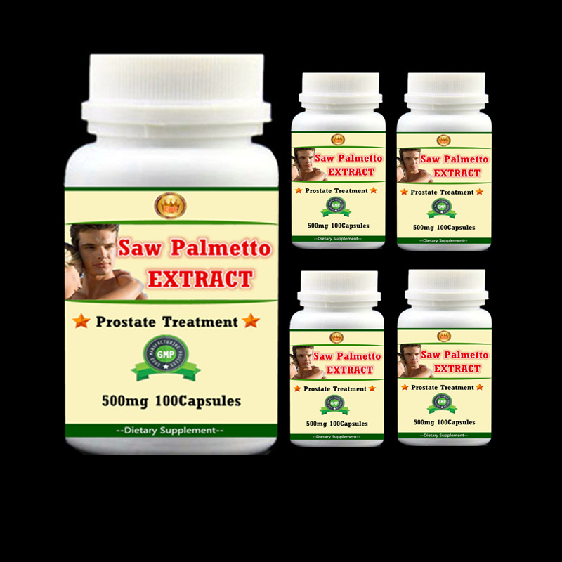 5bottles Prostate Treatment Saw Palmetto PE. Serenoa Repens High quality for men's health - 100pcs/bottle - free shipping & duty factory supply hair loss prostate health 55% fatty acid and sterols saw palmetto extract powder 1000grams free shipping