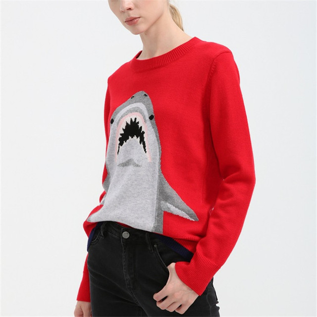 b444d47cd8 wool sweater pullover jumper shark women warm runway sweater knitted  knitwear autumn winter 2017 new high quality red color
