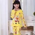 Desconto para Crianças Conjuntos de Roupas Meninas Do Bebê Pijamas de Manga Longa de Lazer Roupa Dos Miúdos Pijama Bonito do Outono Roupas Menina