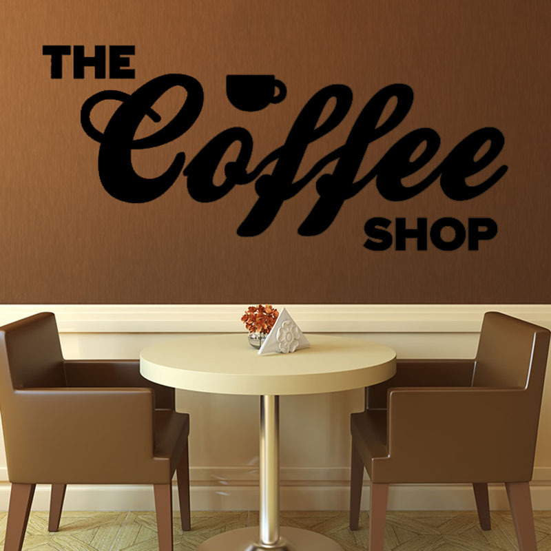 The Coffee Shop Wall Decal Art Vinyl Removable Character Lounge Home Decor Wall Sticker Adhesive Hot Sale