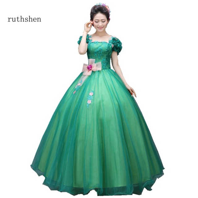 ruthshen Green Sweet 16 Quinceanera Dresses Luxury Ball Gowns Flowers  Appliques Organza Debutante 15 Teens Party Prom Dress 2018 014efbc2569f