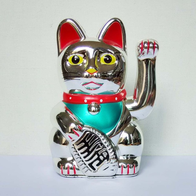 "[ Fly Eagle ] 432Pcs Chinese Feng Shui LUCKY BECKONING FORTUNE CAT 5"" Wealth Waving Maneki Neko Silver"