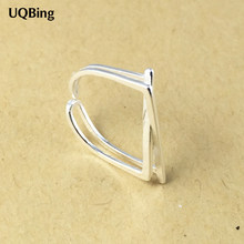 Free Shipping 925 Sterling Silver Rings 925 Geometric Open Rings Jewelry anillo de plata anello(China)