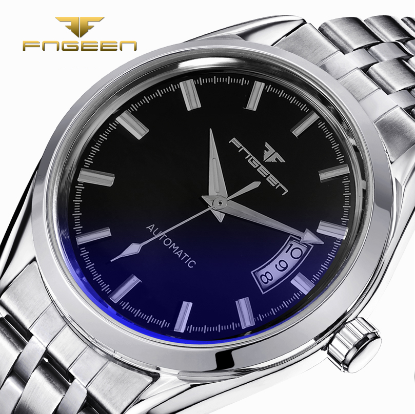 FNGEEN Brand New Casual Men Stainless Steel Mechanical Watches Fashion Men's Automatic Watch Skeleton Full Steel Wristwatch 2017 brand new business watch men hollow engraving black gold case stainless steel watches skeleton mechanical automatic wristwatches