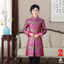 Chinese Traditional Jacket Women's Satin Long Coat Size: M - 3XL цена