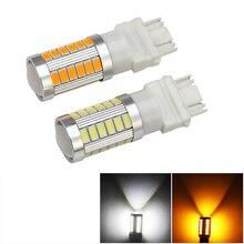 1х T25 3157 светодиодная сигнальная лампа P27W P27/7 W Led T25 3156 для автоматического поворота сигнал тормоза резервный обратный светильник 3157 Led белый Янтарный светильник