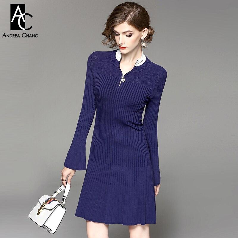 b90f270834c Automne hiver femme robe col blanc bleu foncé tricoté robe strass perles  zip flare manches a ligne dessus du genou casual robe dans Robes de Mode  Femme et ...