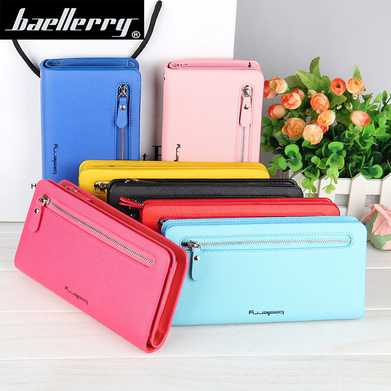Baellerry Women Wallets Famous Fashion Brand PU Leather Purse Women Long Zipper Clutch Wallets Card Holder Celular Solid Colors famous brand long pu leather wallets