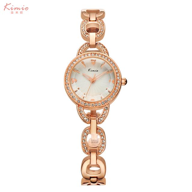 Moda Diamante Relógio De Ouro Marca de Luxo KIMIO Senhora Pulseira Relógios Mulheres Analógico Mostrador do relógio de Pulso De Quartzo-Relógio reloj mujer