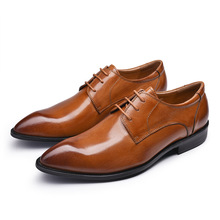 New British Style Genuine Leather Mens Oxfords Shoes Casual Lace Up Business Formal Shoes Male Pointed Toe Shoes JS-A0037