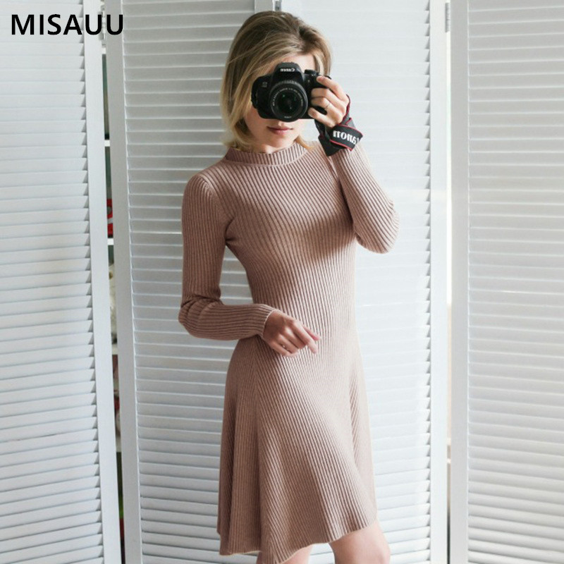 MISAUU Sexy Dress Women Red Elegant Mini Party Dress Winter Long Sleeve Autumn Bodycon Sweater Dresses 2018 Female Vestidos in Dresses from Women 39 s Clothing