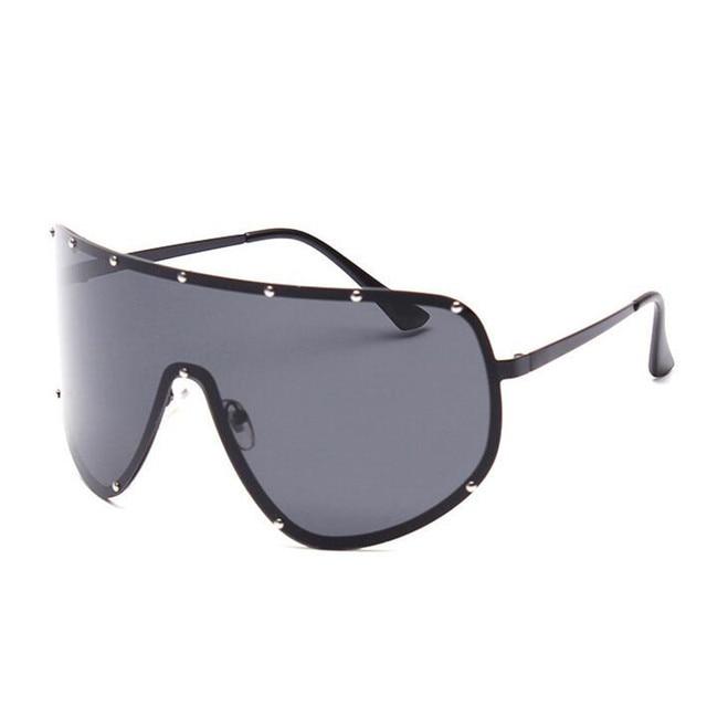 Oculos De Sol Feminino Big Frame Sunglasses Women Retro Vintage Oversized Black Sunglass Fashion Ladies Mirror Sun Glasses YJ17