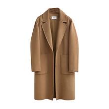 New Women Turn-Down Collar Wool Coat Casual Long Sleeve Blends Outwear Autumn Winter Single Breasted Solid Overcoat цена в Москве и Питере