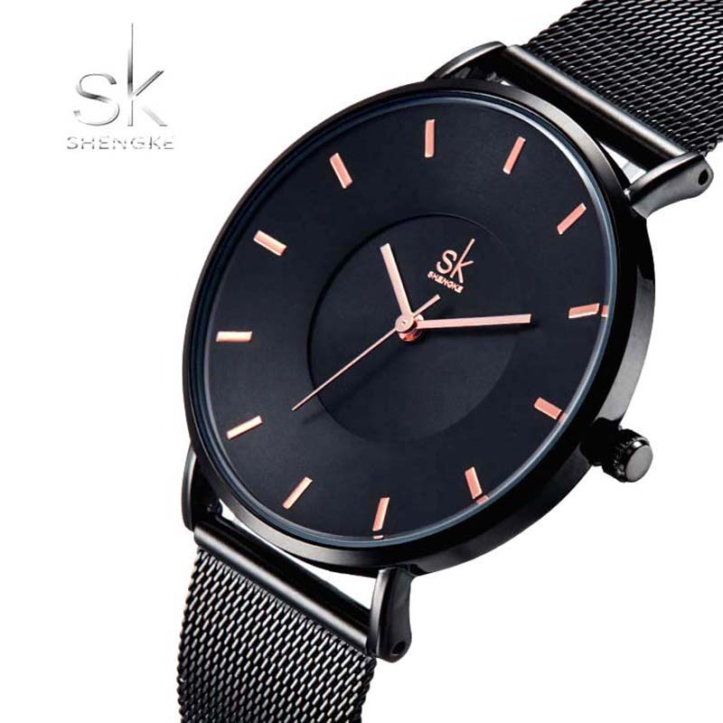 Shengke Fashion Women Watches Luxury Brand Quartz Ladies Stainless Steel Bracelet Watch Casual Clock montre Femme reloj mujer 2016 julius brand quartz watches women clock gold square leather bracelet casual fashion watch ladies reloj mujer montre femme