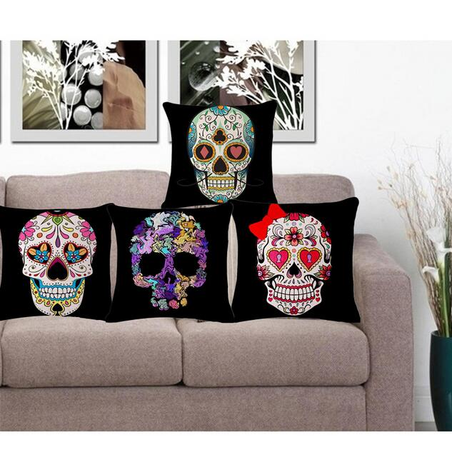 Mexican Sugar Skulls Cushions Cover Decorative Throw Pillows Sofa Home Decor Pillow Case Cojines Decorativos 45 45cm In Cushion From