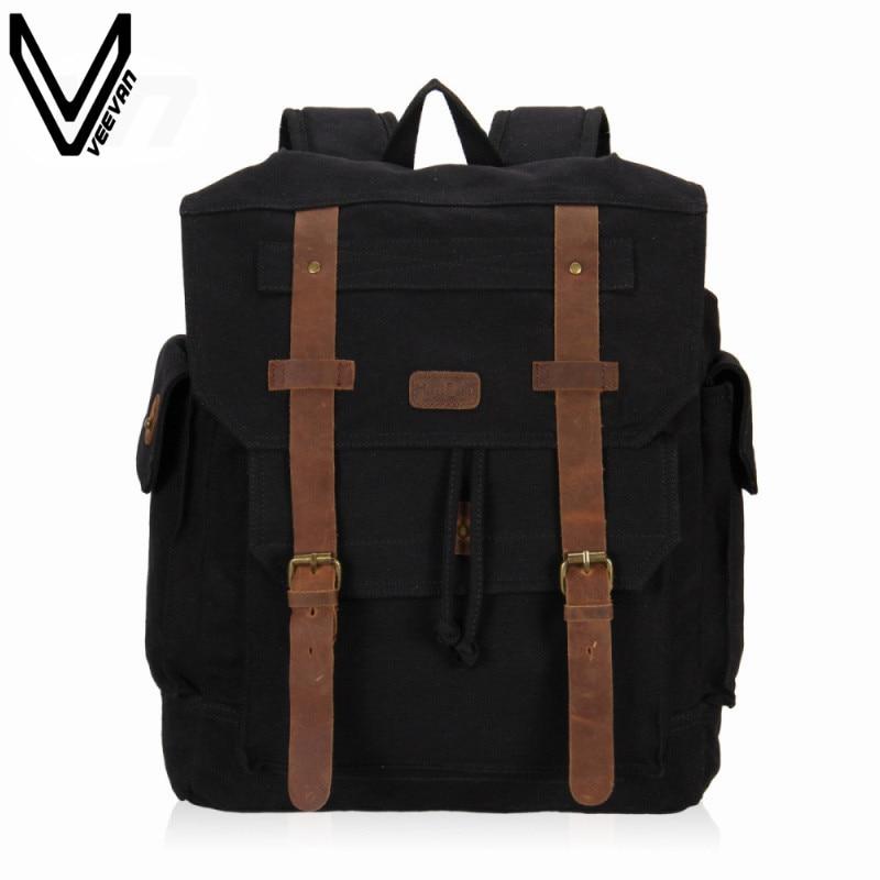 2016 VEEVANV Vintage Canvas Backpack Men Student Daily Backpack Shoulder Bag Large Capacity Computer Bag Casual Travel Rucksack