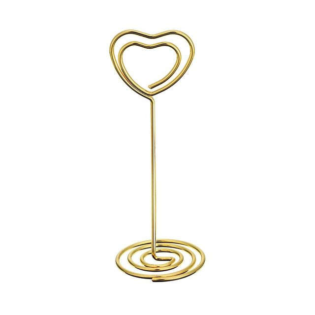 hot-24 Pack of Table Number Card Holders Photo Holder Stand Place Card Paper Menu Clips Holders, Gold Heart Shape 2