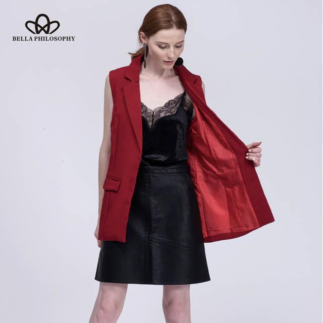 ff660dbb16a51 Online Shop Bella Philosophy 2019 new fashion waistcoat women no button  black jacket women sleeveless blazer jacket white casual outwear