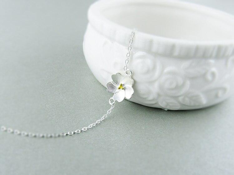 AKOLION Silver Cherry Blossoms Bracelets Charm Flower Bracelets 925 Sterling Jewelry For Girl Women 9