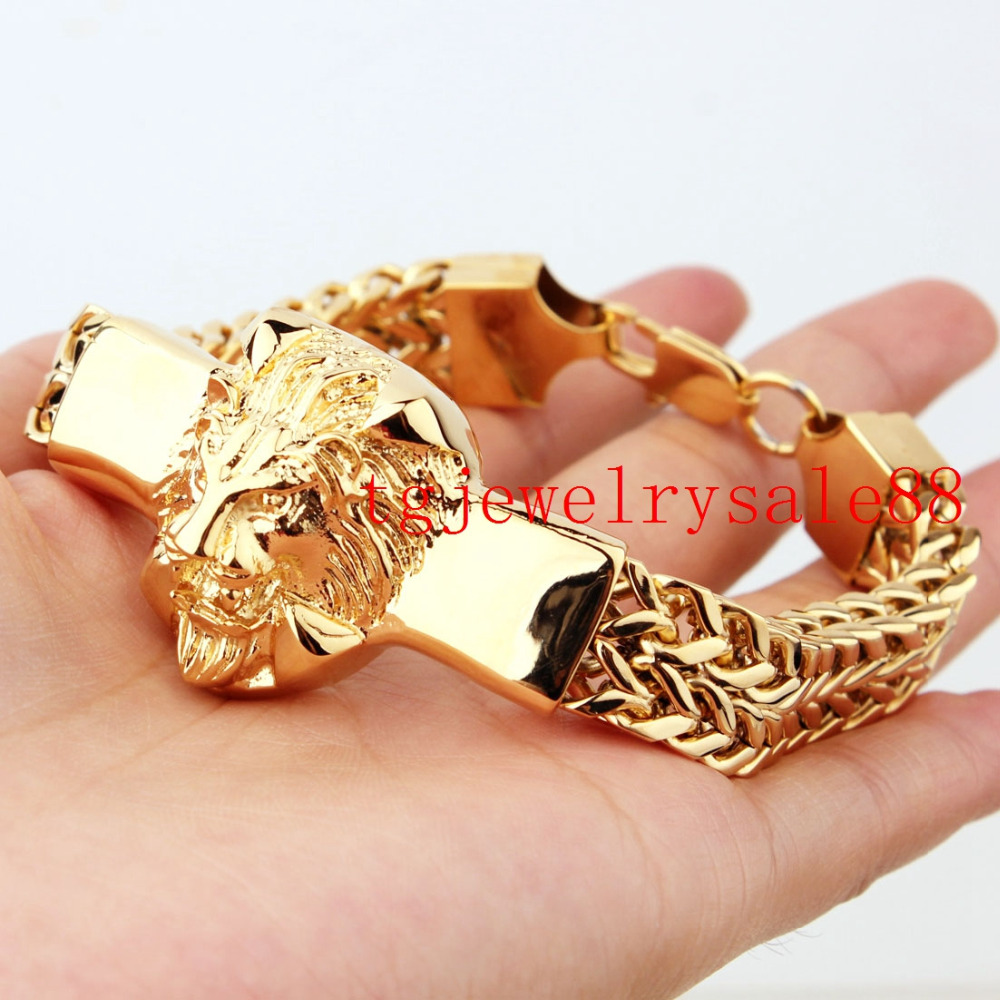 15mm Wide High Quality Stainless Steel Silver Or Gold  Cool Mens Figaro Rolo Chain Lion Head Bracelet Jewelry 8.66
