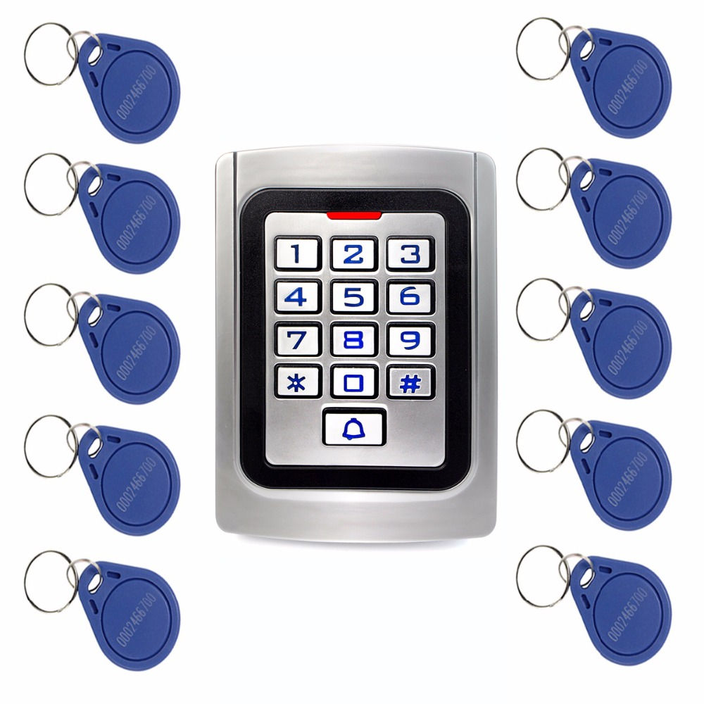 10pcs RFID Cards+RFID 125Khz EM Card Door Access Control IP68 Waterproof Metal case Silicon Keypad Security Entry F1322