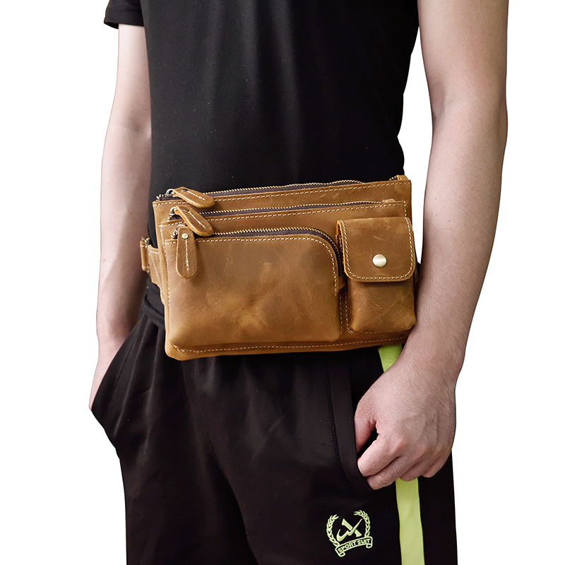 MAHEU Crazy Horse Men Waist Bag Real Leather Chest Bag Outdoor Casual Full Grain Leather Porable Gym Bags Messenger Bag Brown