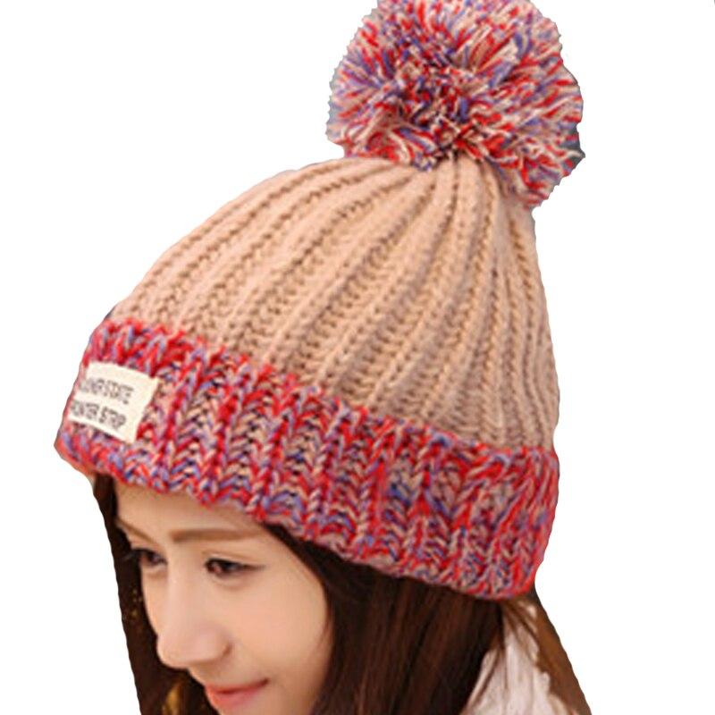 キャップブランク サプライヤからファッション女性の暖かいウールの冬の帽子ニット毛皮の帽子女性早く状態レターskullies  \u0026ビーニー5色gorros赤青を購入します