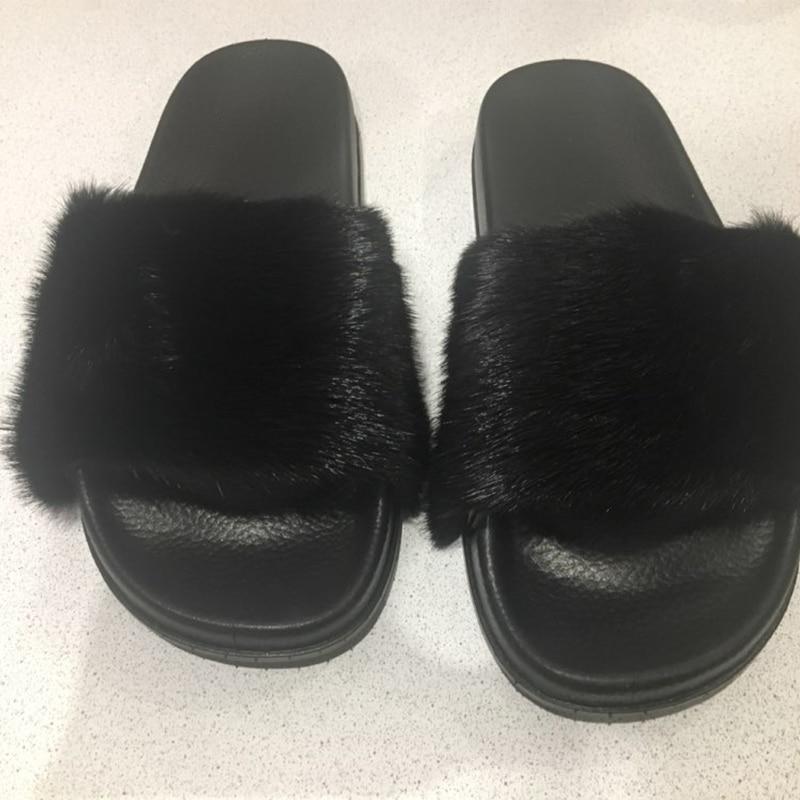 672970eea18f Women real mink fur furry slippers fashion handmade flip flops beach sandal  shoes