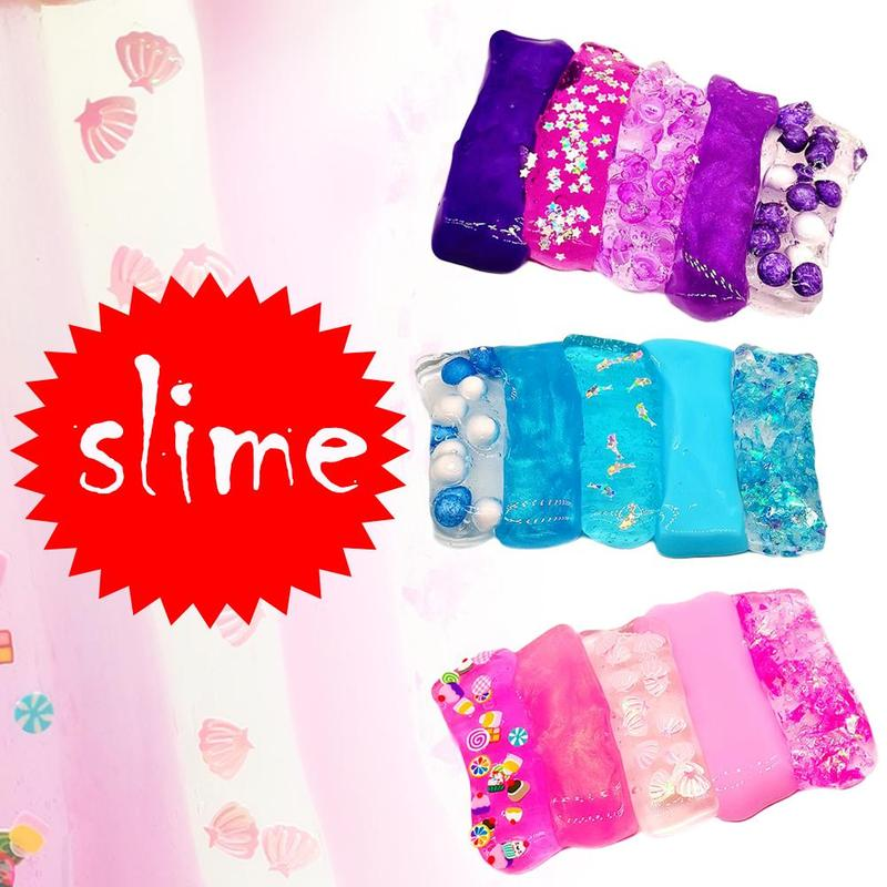 5 IN 1 Slime Fluffy Slime Beads Slime Kit Clay Mud Lizun Playdough Stress Relief Cotton Slime Stress Relief Kids Toy Gift