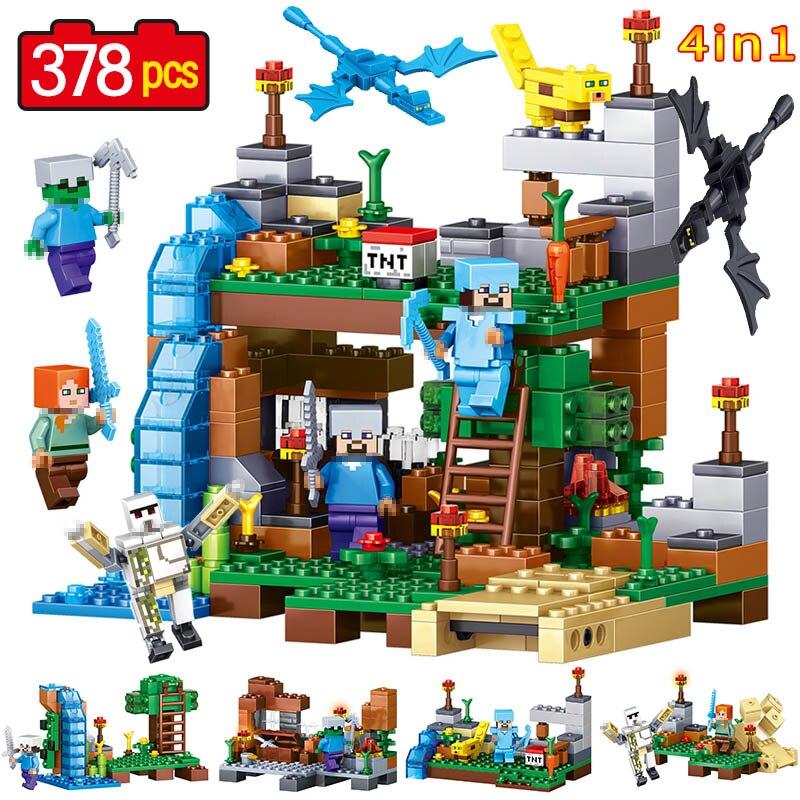 378 pcs Dernières Blocs de Construction Brique Mon Monde Contre zombies Produit Portefeuille Compatible LegoINGLYS Minecrafter Jouets pour Enfants
