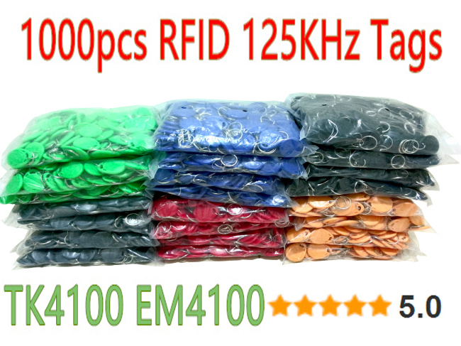 8 Color 1000pcs lot RFID Tag 125khz TK4100 Token Key Fobs Rfid tags For Access Control
