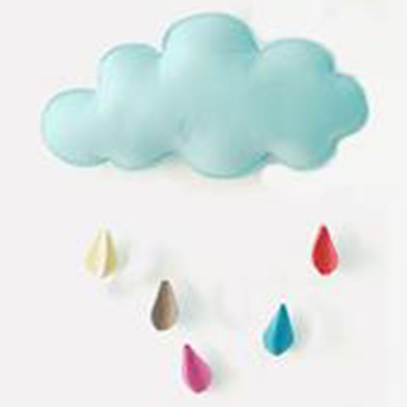 Baby Mobile Wall Hanging Blue Cloud Toy Hand Made Children Decor Rainbow Mobile Baby Play Gym Early Sensory Non-woven Toy