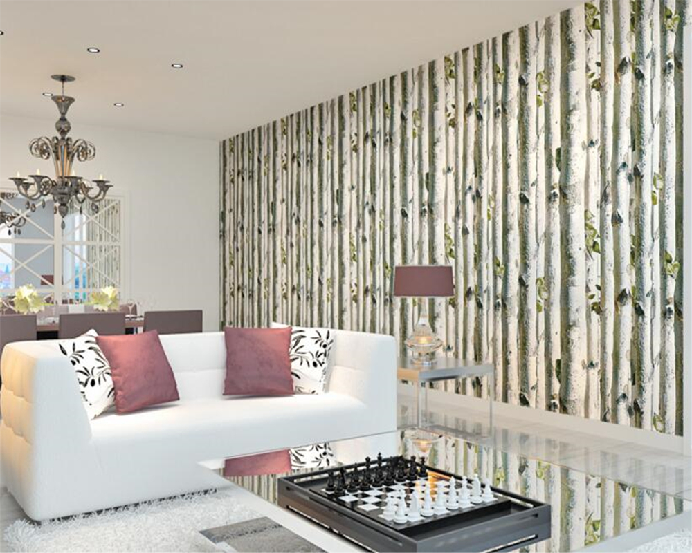 beibehangpapel de parede  background wall papers video wall thickening non woven bedroom simulation birch forest 3d wallpaper non timber forest products enterprise development