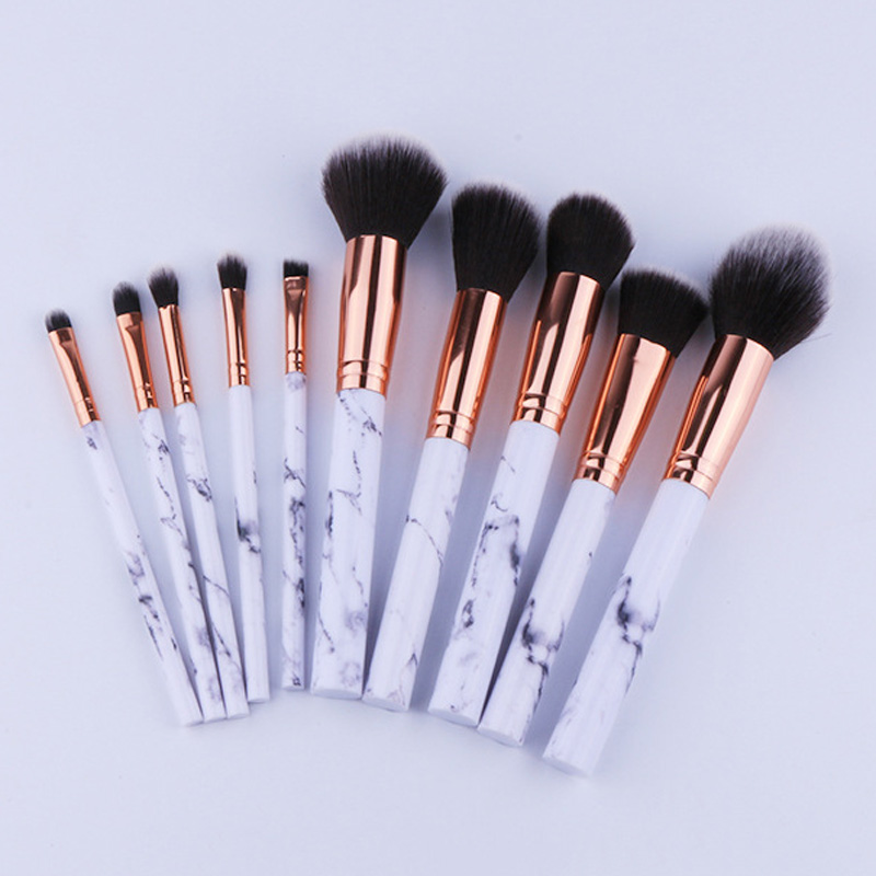 10Pcs Professional Makeup Brushes Marbling Handle Eye Shadow Eyebrow Lip Eye Make Up Brush Comestic Tools H7JP fulljion pro 1pcs makeup eyebrow brush eyebrow comb portable double bamboo handle eyebrow makeup brushes for eyes makeup tools