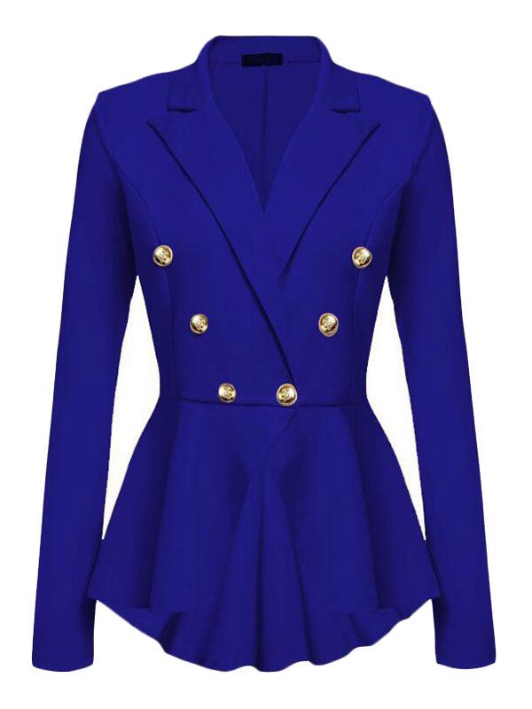 Ladies Stretch Peplum  One Button Long Sleeve Jacket// Blazer