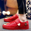 New Men's Shoes Casual Skate Britpop Style Shoes Leather Metal Sequins Flats Fashion Sport Men Shoes Martin Hip-hop Ankle Shoes
