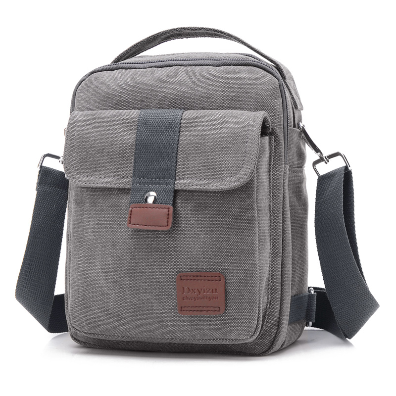 New Men Crossbody Bag Canvas Small Quality Canvas Grey Shoulder Messenger Bags Handbag Chest Pack Bags for Boy Teenagers Flap men canvas small sling chest pack handbag vintage shoulder crossbody bag function small men messenger bags grey 19 8 25 cm