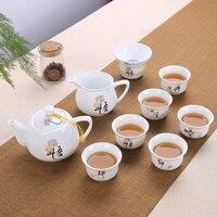 9 Pcs Chinese Tea Set Gaiwan Blue and white porcelain Kung Fu Tea Set Tureen Ceramic Tea Bowl Teacup and Saucer Master Cups