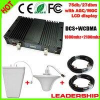 Для домашнего использования чехол 200m2 27dbm 75db 2 г + 3G ретранслятор сигнала двухдиапазонный DCS 1800 мГц WCDMA 2100 мГц UMTS усилитель сигнала с ALC/mgc