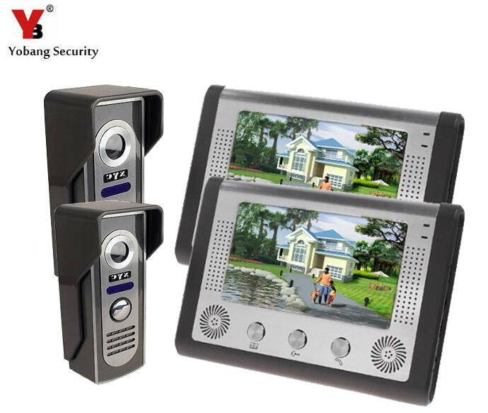 Yobang Security Yobang Security 7 Inch Video Intercom Doorbell Door Phone Intercom Night Vision Wired Phones Intercom Systems 7 inch video doorbell tft lcd hd screen wired video doorphone for villa one monitor with one metal outdoor unit night vision