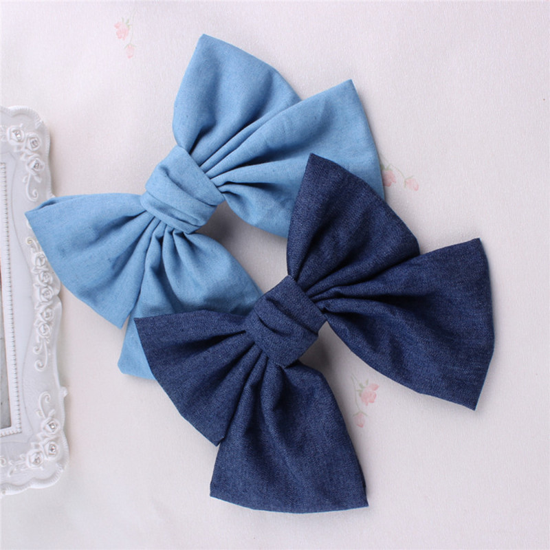 2 Warna Wanita Girls Vintage Soft Pepejal Denim Bow Barrette Saiz Besar Lovely ikatan simpul klip rambut Hairpin Blue Headwear Denim