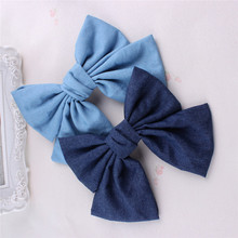 2 Colors Women Girls Vintage Soft Solid Denim Bow Barrette Big Size Lovely Bowknot Hair Clips Hairpin Blue Denim Headwear
