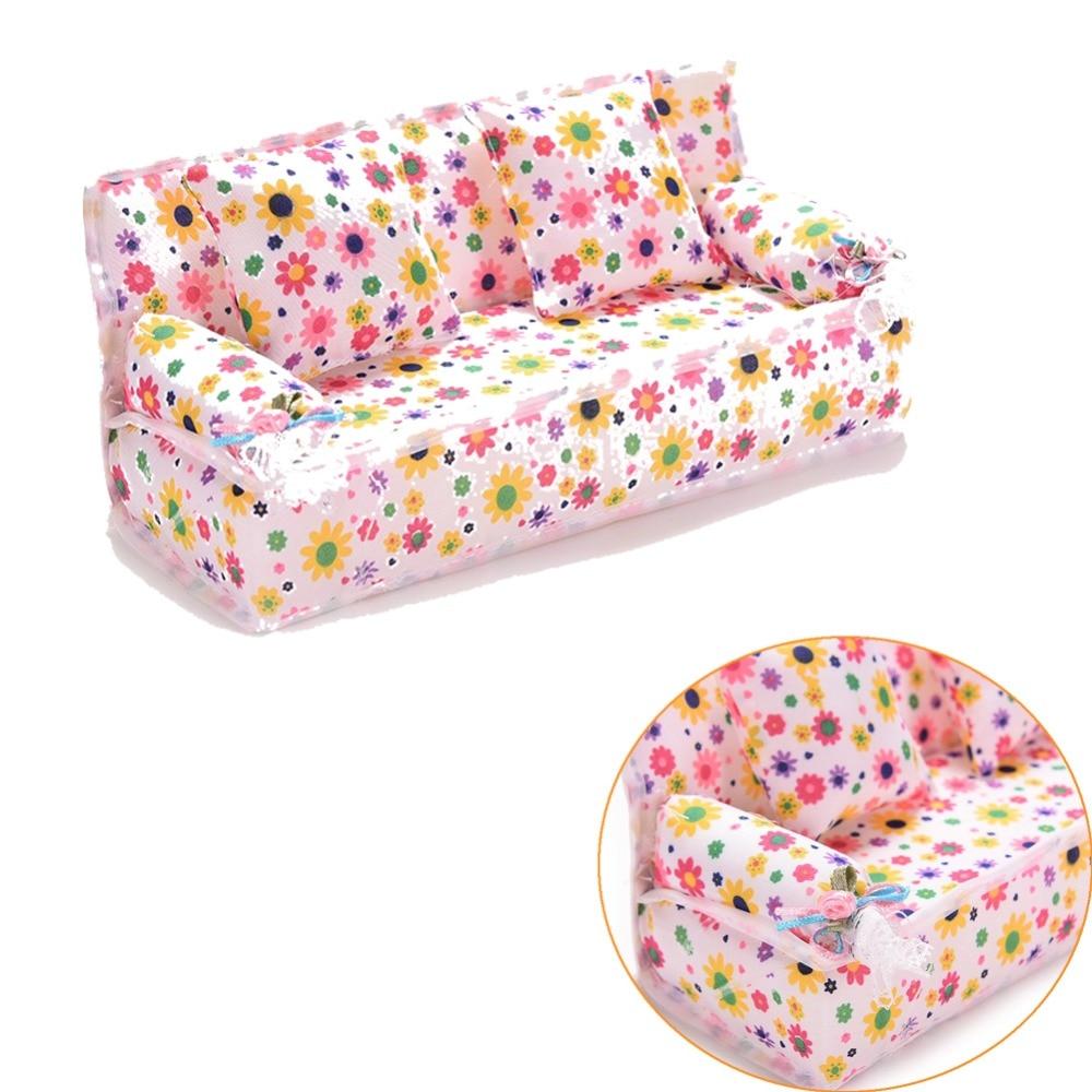 Mini Sofa Play Toy Flower Print Baby Toy Plush Stuffed