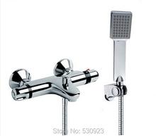 Новый душа установить ванная комната термостатический кран хромированная отделка смесителя ж / ABS ручной душ настенные