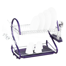 iron 2 Tiers Kitchen Dish Cup Drying Rack Drainer (Color:purple)
